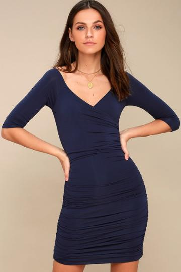 Star Of The Show Navy Blue Off-the-shoulder Bodycon Dress | Lulus