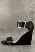 Breckelle's Neysa Black Ankle Strap Wedges
