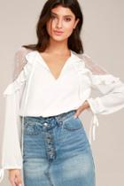 Lulus Glorious Day White Lace Long Sleeve Top