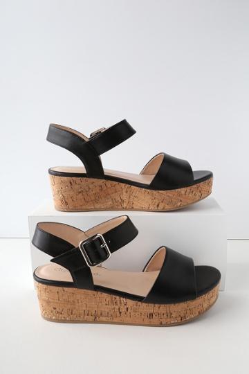 Soda Grecia Black Cork Wedge Sandal Heels | Lulus