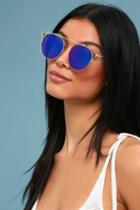 Mariette Gold And Blue Mirrored Sunglasses | Lulus