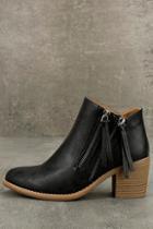 Qupid Carine Black Ankle Booties
