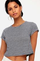 Trent Navy Blue Striped Cropped Tee | Lulus