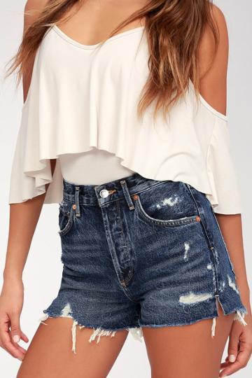Agolde Jaden Medium Wash Distressed High Rise Cutoff Shorts | Lulus