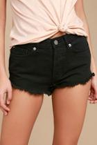 Amuse Society Easton Washed Black Distressed Denim Shorts