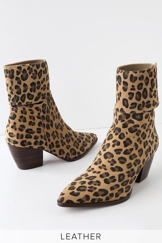 Matisse Good Company Leopard Genuine Suede Leather Pointed Toe Mid-calf Booties | Lulus