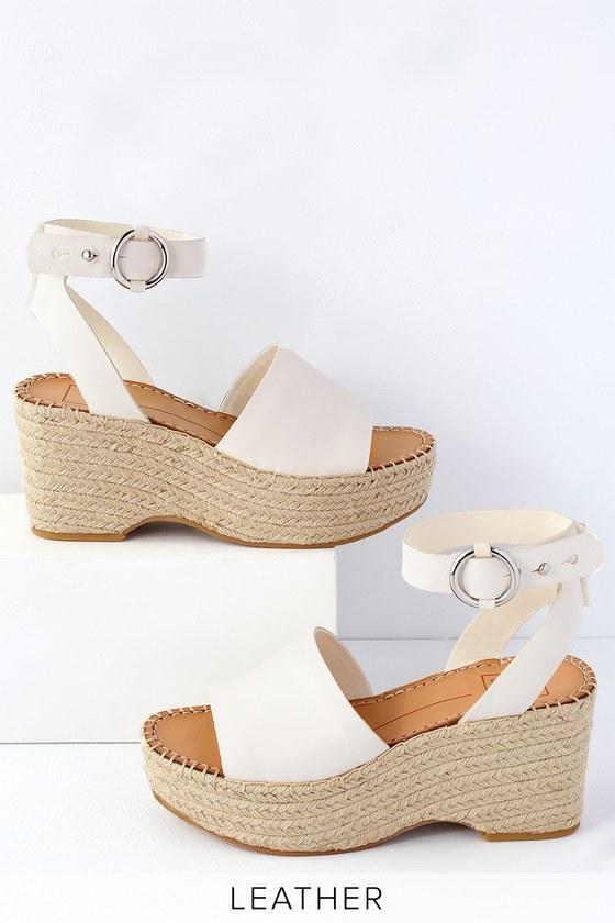 Dolce Vita Lesly Off White Leather Espadrille Wedges | Lulus