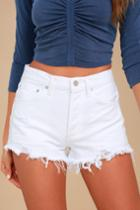 Agolde Parker Vintage White Distressed Denim Cutoff Shorts | Lulus