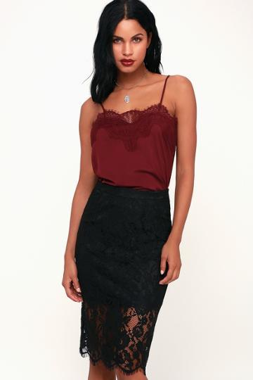 Little By Little Black Lace Midi Skirt | Lulus