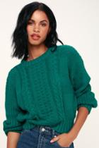 Lush Whistler Jade Green Cable Knit Sweater | Lulus