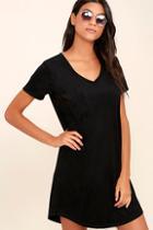 Z Supply Modern Design Black Suede Shirt Dress