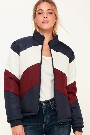 The Fifth Label Atom Navy Blue Chevron Color Block Puffer Jacket | Lulus