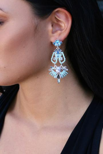 Color Me Rococo Silver And Blue Rhinestone Earrings | Lulus