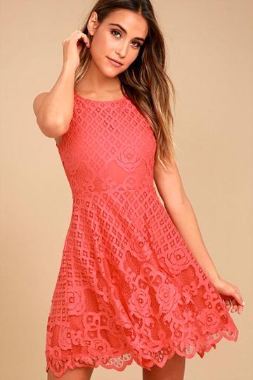 Black Swan Desirae Coral Pink Lace Skater Dress | Lulus