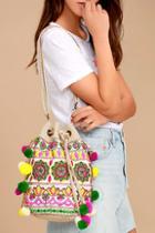 Lulus Moroccan Melody Beige Woven Bucket Bag