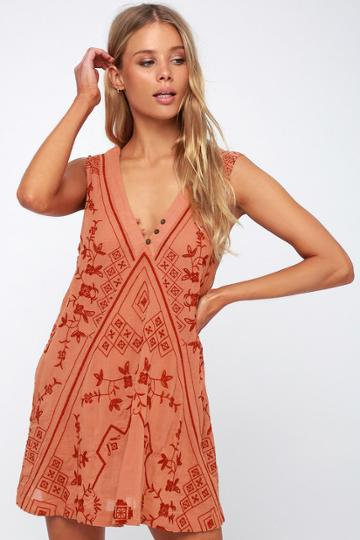 Free People Sweetest Shifty Terra Cotta Embroidered Shift Dress | Lulus