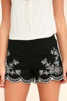 Lulus Lookout Point Black Embroidered Shorts