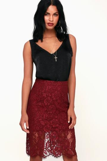 Little By Little Burgundy Lace Midi Skirt | Lulus
