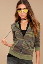 Z Supply Seniority Green Camo Print Hoodie