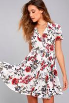 Lulus Just Fleur You White Floral Print Shirt Dress