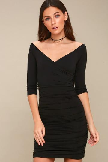 Star Of The Show Black Off-the-shoulder Bodycon Dress | Lulus