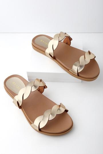 Bamboo Monica Gold Slide Sandal Heels | Lulus