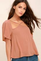Lulus Safekeeping Rusty Rose Top