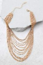 Lulus Party Hopping Gold Layered Choker Necklace