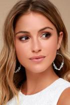 Lulus Rock Me Silver Rhinestone Hoop Earrings
