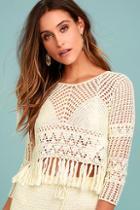 Mink Pink Henna Cream Crochet Crop Top