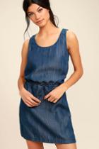Olive + Oak | Olive & Oak Adley Dark Blue Chambray Dress | Size X-small | Lulus