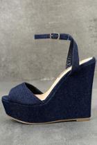 Liliana Nahele Blue Denim Ankle Strap Wedges
