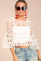 Lulus Nearness Of You White Crochet Crop Top