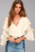 Lulus | Fancy Flair Cream Long Sleeve Top | Size Large | White
