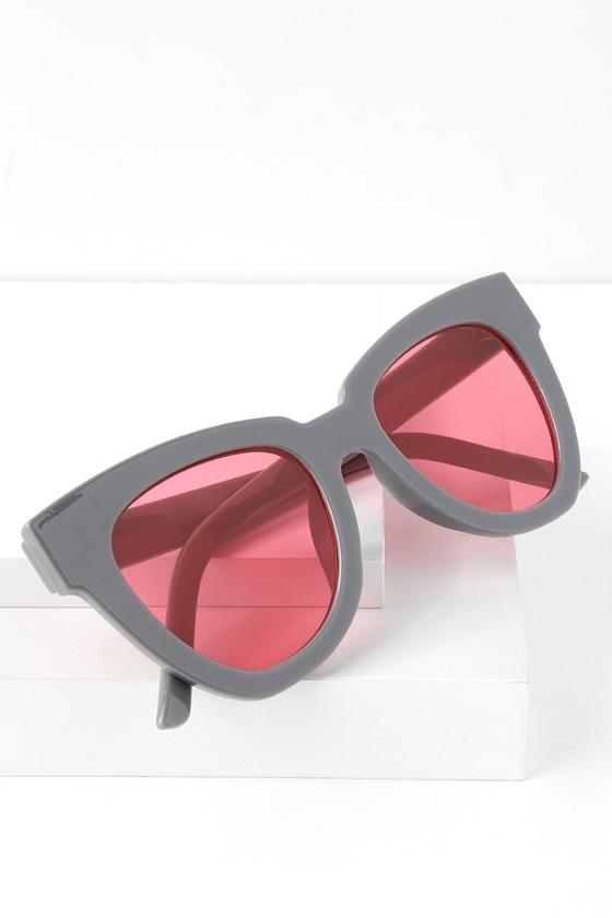 Not Standard Grey And Hot Pink Sunglasses | Lulus
