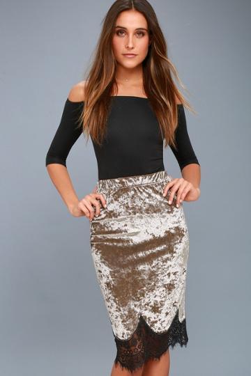 The Room Luciano Taupe Velvet Lace Hem Midi Skirt | Lulus