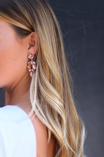 Bound To Wow Rose Gold And Pink Rhinestone Earrings | Lulus