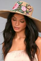 Lulus | West End Tan Embroidered Straw Floppy Hat | Brown