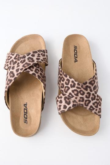 Soda Reilly Cheetah Print Flat Sandals | Lulus