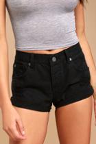 Amuse Society Crossroads Black Distressed Denim Shorts