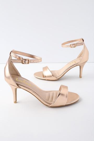 Lover Rose Gold Ankle Strap Heels   Lulus