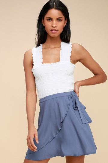 On The Sway Denim Blue Wrap Skirt | Lulus