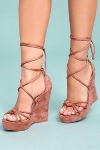 Liliana Macy Dusty Pink Suede Lace-up Wedges