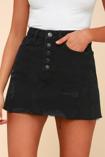 Free People A-line Washed Black Distressed Denim Skirt | Lulus
