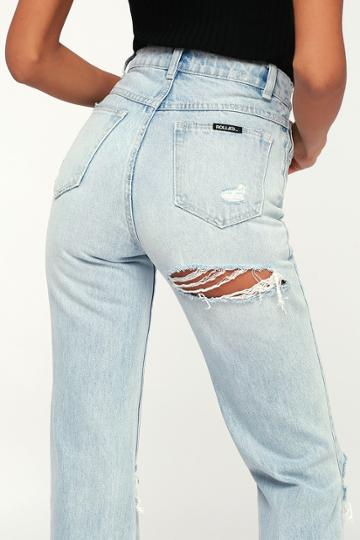 Rolla's Original Straight Light Wash High Rise Distressed Cropped Jeans | Lulus
