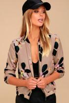 Olive & Oak Ambre Taupe Floral Print Bomber Jacket