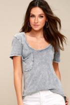 Z Supply Loni Washed Grey V-neck Tee | Lulus