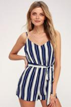 Carraway Navy Blue And White Striped Romper | Lulus