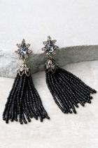 Lulus Faithfully Black Beaded Tassel Earrings