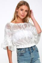 Mesa Sunset White Embroidered Crochet Crop Top   Lulus